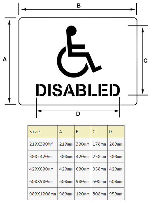 disabled sign parking stencil sizes