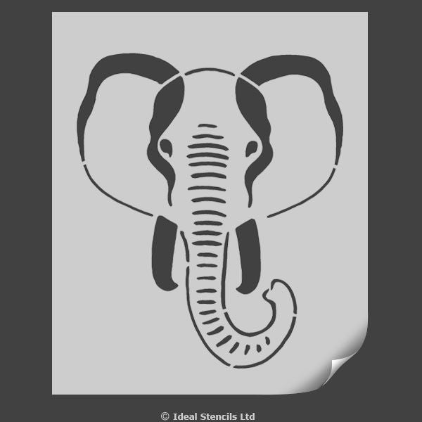 Elephant face nursery stencil