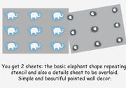Elephant Nursery wall Stencil
