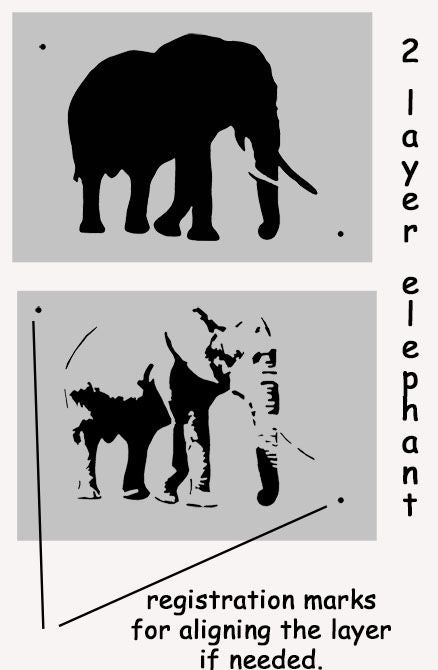 Elephant stencil 2 layers