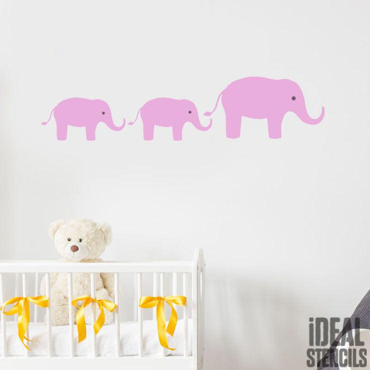 Elephants nursery wall decor stencil