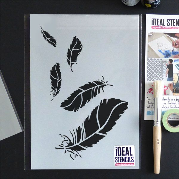 Falling Feathers Decor Stencil
