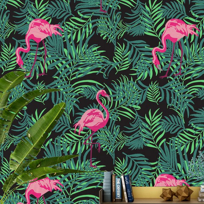 Flamingo Tropical  Wallpaper Stencil
