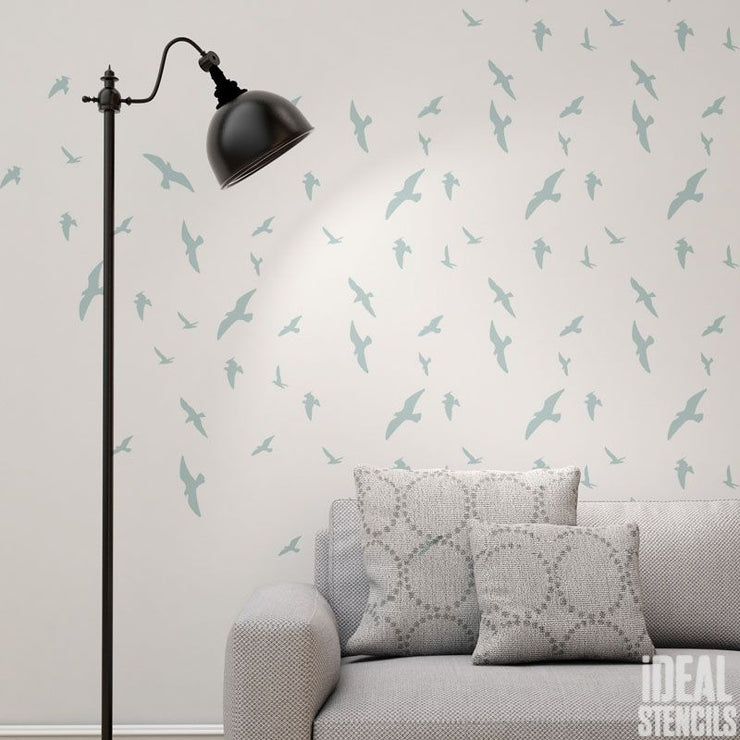 Flying Birds Pattern Stencil