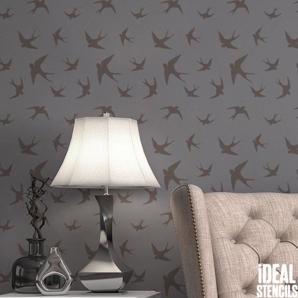 Flying Swallow Pattern Stencil