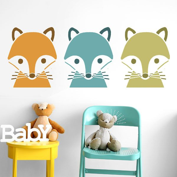 Fox face nursery stencil