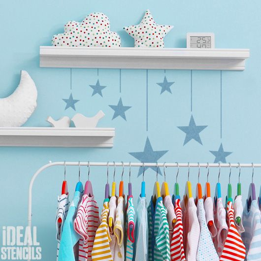Hanging Stars Nursery Decor Stencil