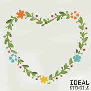 Heart shaped flower wreath stencil