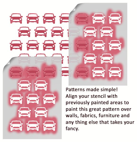 Mini Car Pattern Stencil