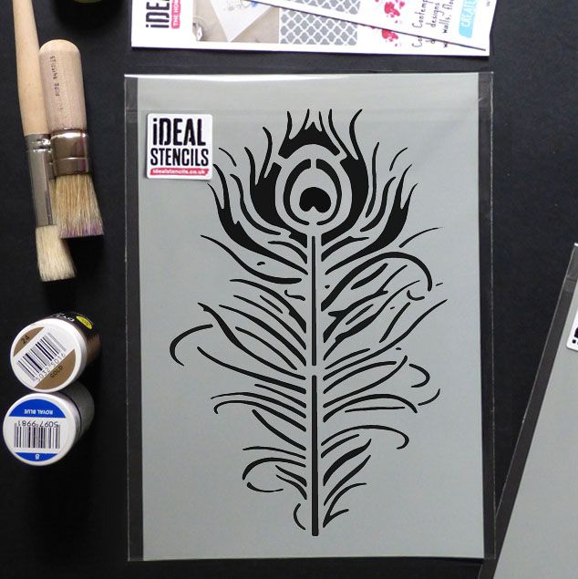 Peacock feather Decor & Craft stencil