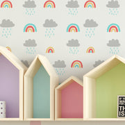 Rainbows & Rain clouds Stencil