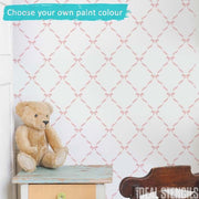 Ribbon & Bow Nursery Wall Stencil