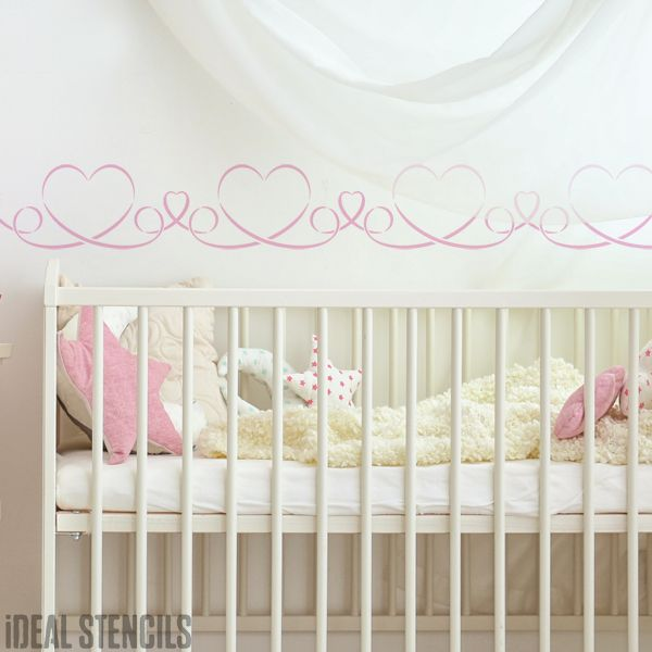Ribbon Heart Border Stencil
