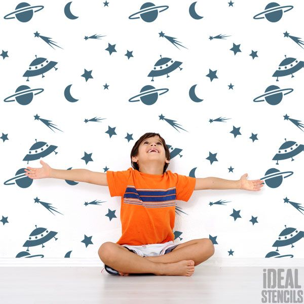 Space stars moon wall Stencil