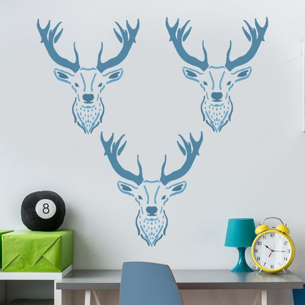Stag head nursery stencil