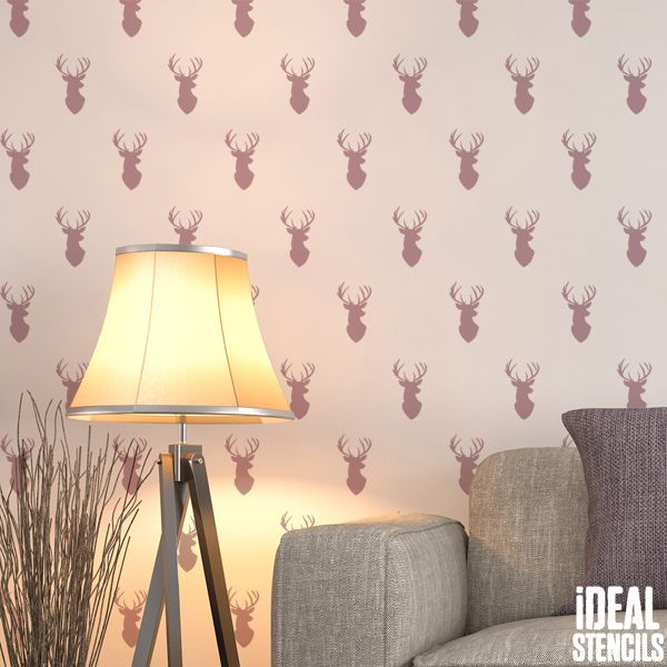 Stag head repeat pattern wall stencil