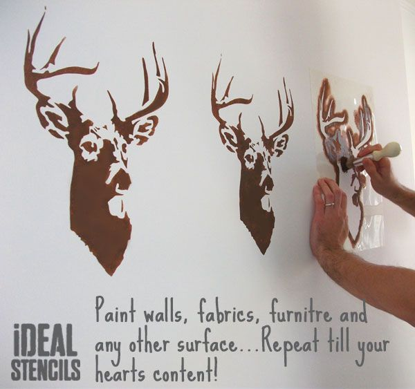 Stags Head Deer Stencil