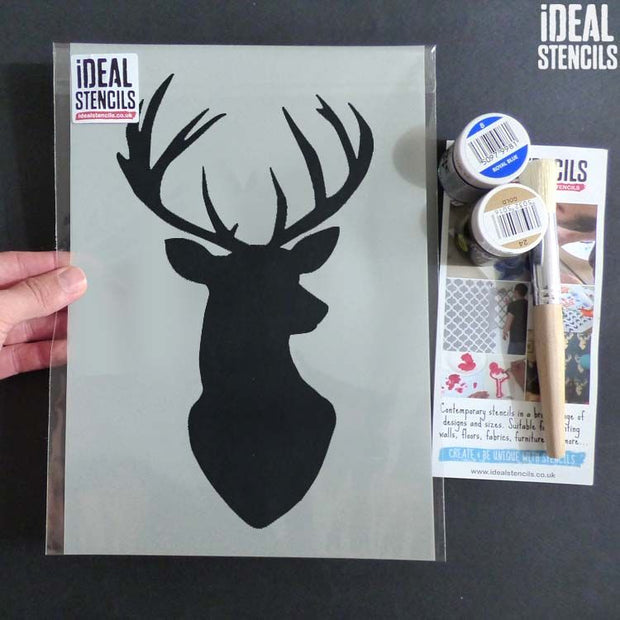 Stags Head Silhouette Stencil