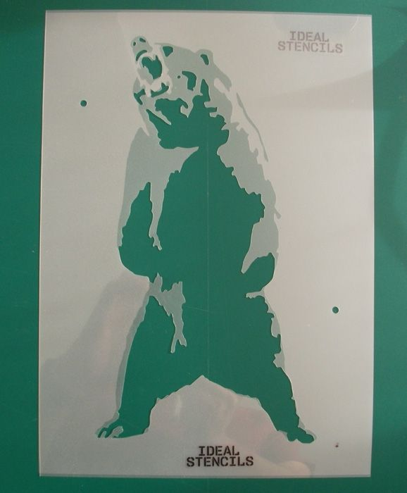 Standing Grizzly Bear 2 layer Stencil