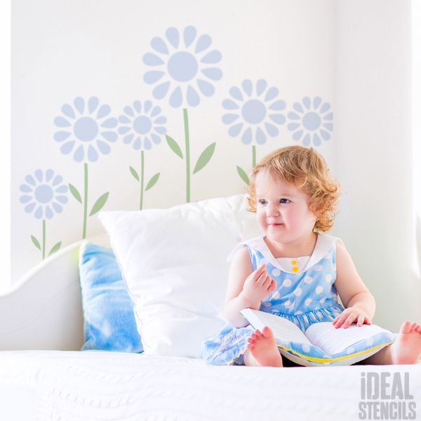 Summer Daisy nursery decor stencil