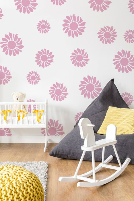 Sunflower nursery wall stencil