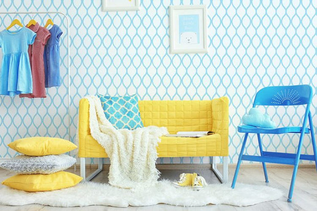 Tear Drop Nursery Lattice Pattern Stencil