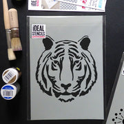 Tiger face nursery stencil
