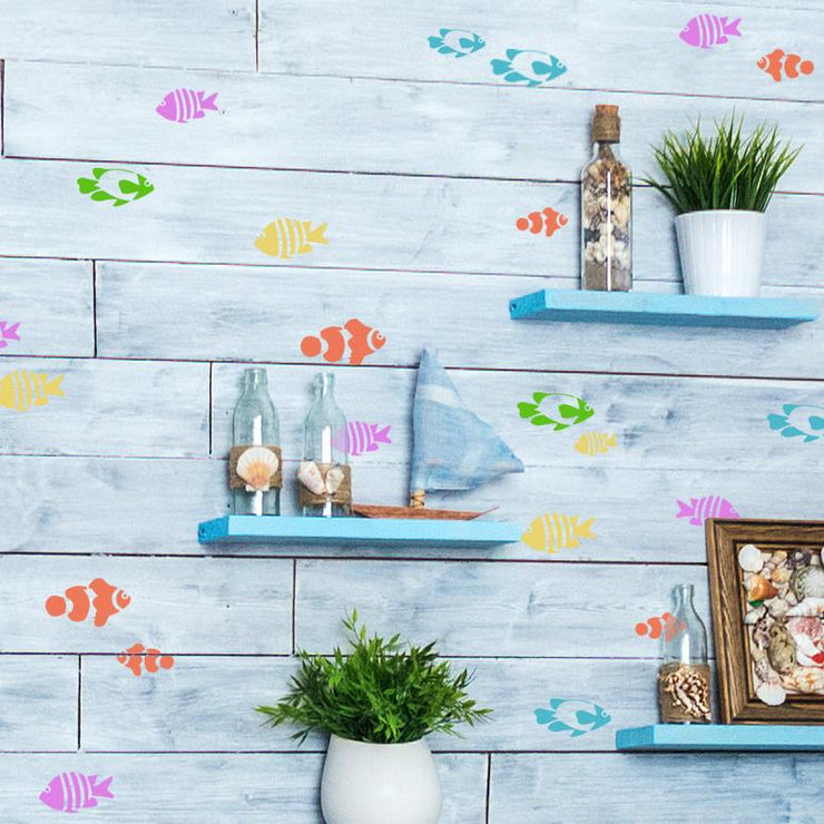 tropical fish clownfish stencil set