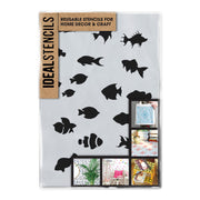 Tropical fish set Stencil