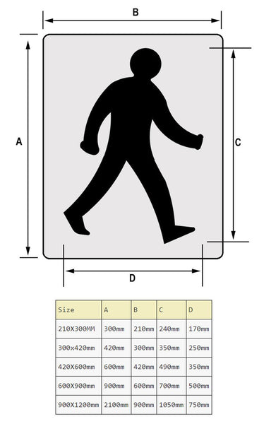walking man signage stencil sizes