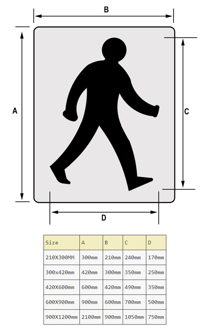 Walking man floor marking stencil sizes chart