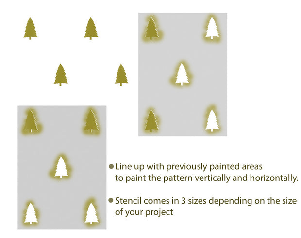 Woodland Scandinavian style trees stencil