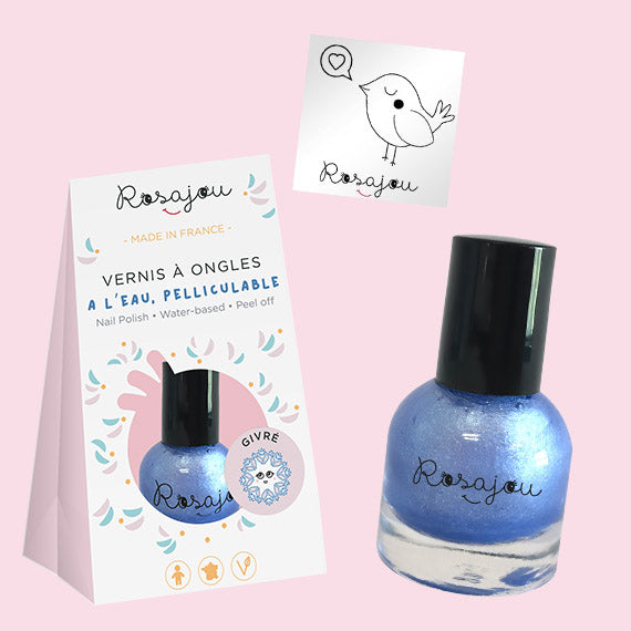 NAIL COLOR + sticker  - BLUE ROSAJOU - HOWTOKiSSAFROG