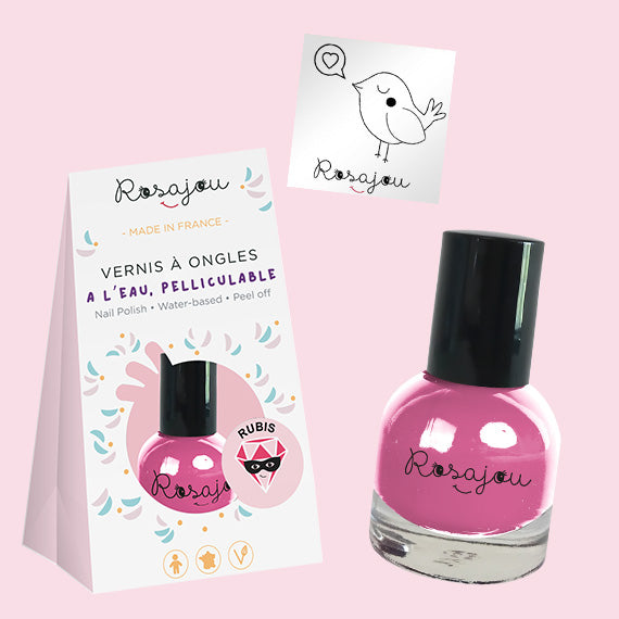 NAIL COLOR + sticker  - PINK ROSAJOU - HOWTOKiSSAFROG