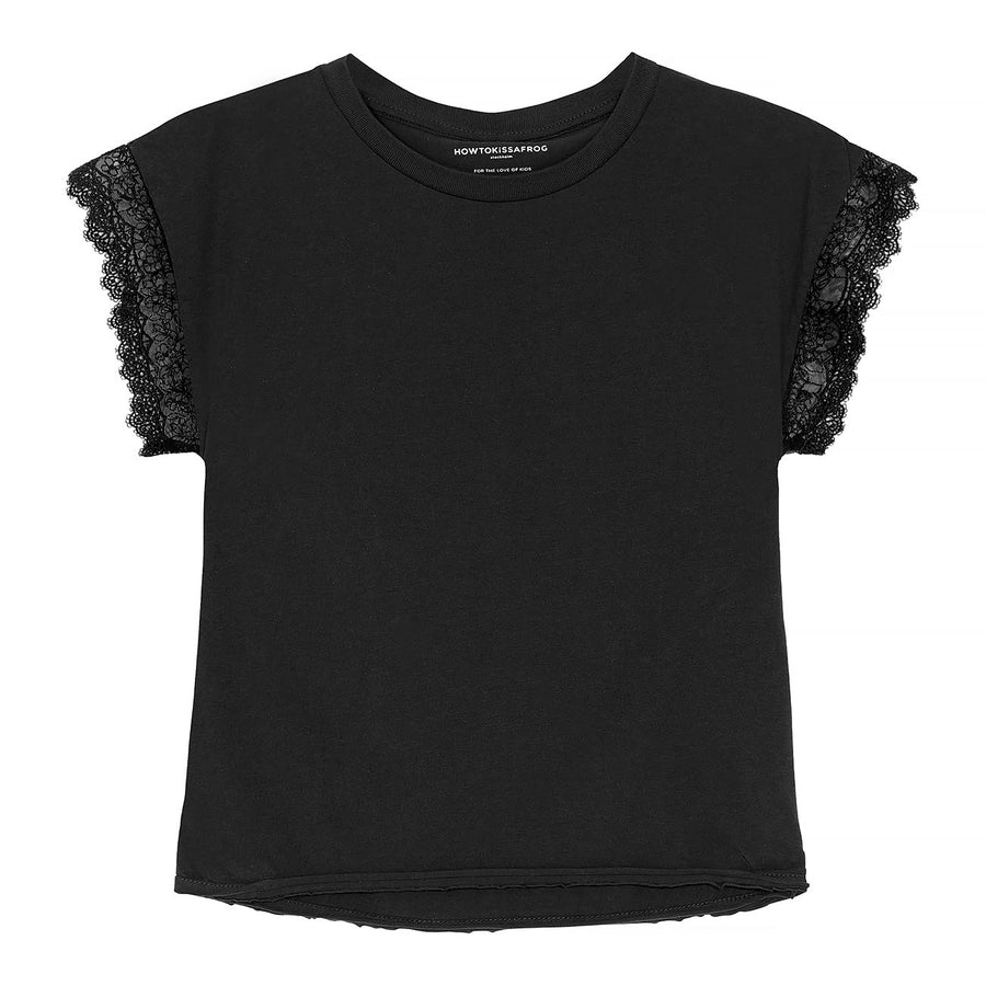 CUT T Lace - washed black - HOWTOKiSSAFROG