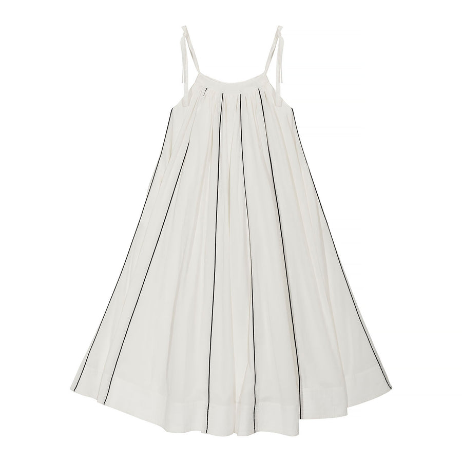 WIOLA dress - off white, black piping - HOWTOKiSSAFROG