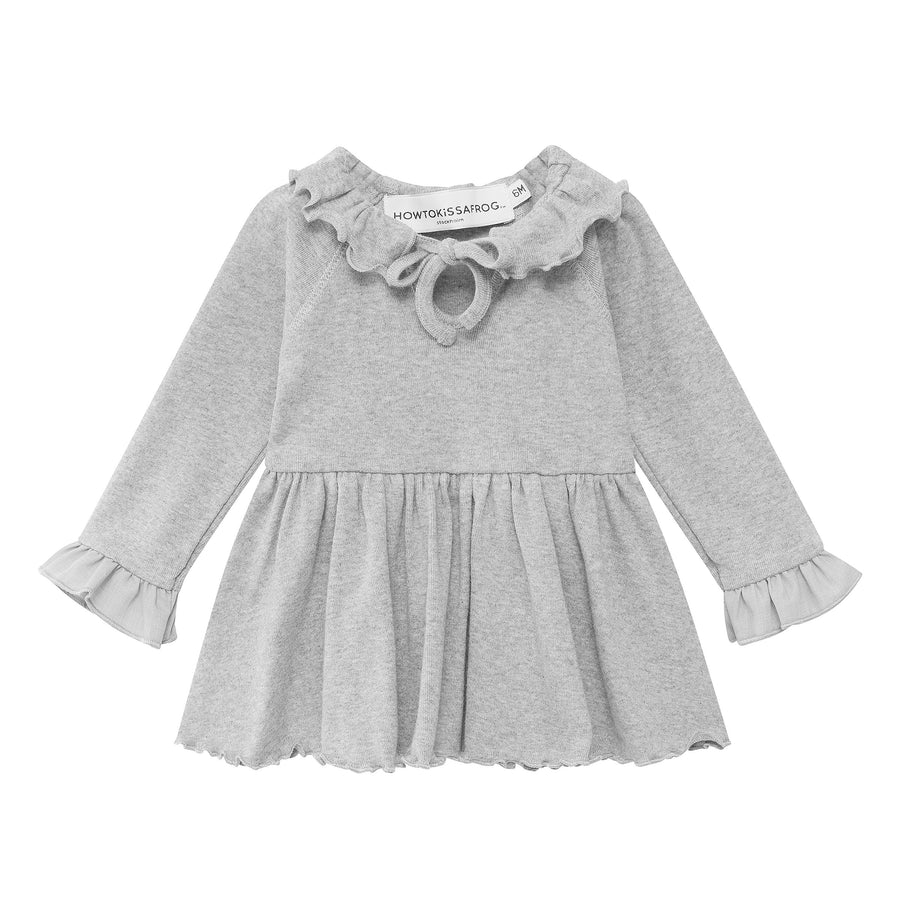 SPARKLE DRESS  - grey melange - HOWTOKiSSAFROG