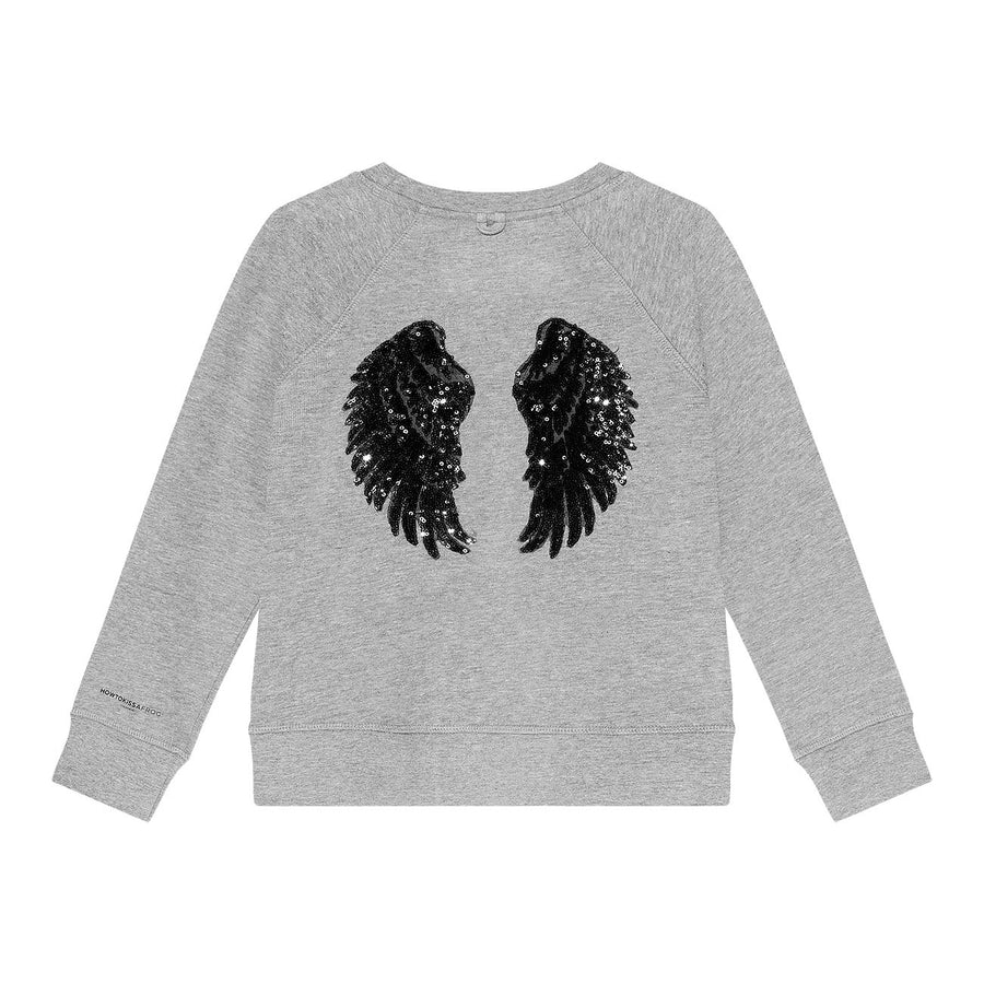 Sweatshirt Wings - grey/black - HOWTOKiSSAFROG