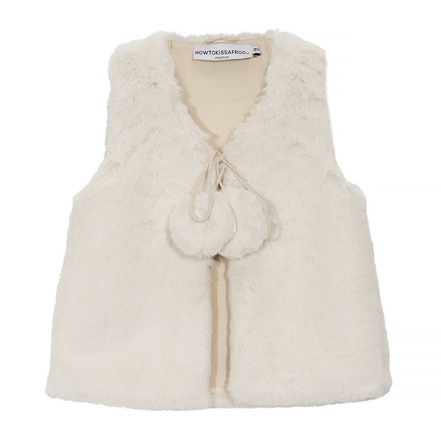 KIKI vest - faux fur off white - HOWTOKiSSAFROG