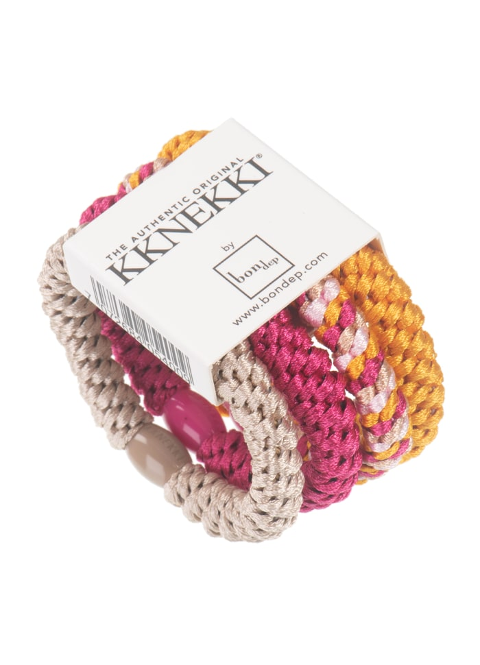 Knekki bundle hairties - pink/yellow - HOWTOKiSSAFROG