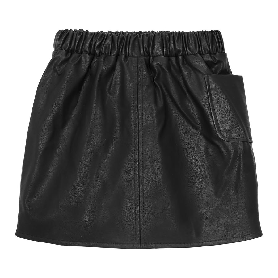 NILA skirt - black faux leather - HOWTOKiSSAFROG