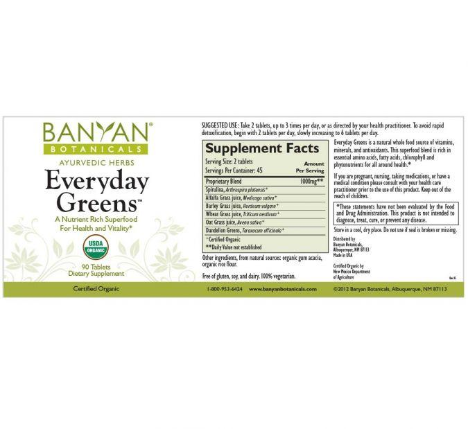 Banyan Botanicals Everyday Greens – 90 Tablets