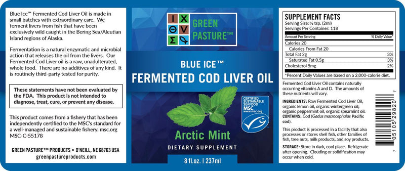 Green Pasture Blue Ice Fermented Cod Liver Oil Liquid, Arctic Mint – 237ml