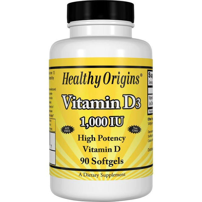Healthy Origins Vitamin D3, 1000 IU 90 Softgels