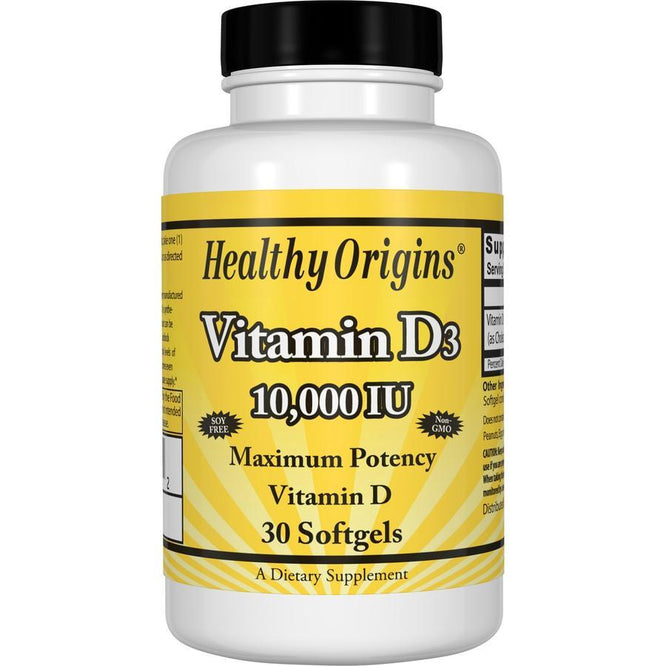 Healthy Origins Vitamin D3, 10,000 IU 30 Softgels