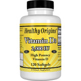 Healthy Origins Vitamin D3, 2000 IU 120 Softgels