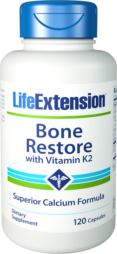 Life Extension Bone Restore with Vitamin K2 120 Capsules