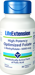 Life Extension High Potency Optimized Folate, L-Methylfolate, 5000mcg 30 Vtabs
