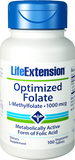 Life Extension Optimized Folate, L-Methylfolate, 1000mcg 100 Veg Tabs