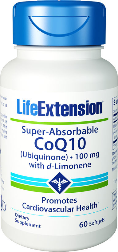Life Extension Super-Absorbable CoQ10 (Ubiquinone) with d-Limonene 60 Softgels